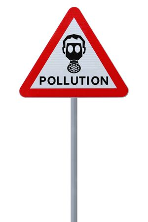 A road sign warning of pollution ahead  isolated on white   Stock Photo - 14500972