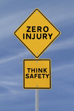Road sign with a safety reminder against a blue sky background Stock Photo - 14538756