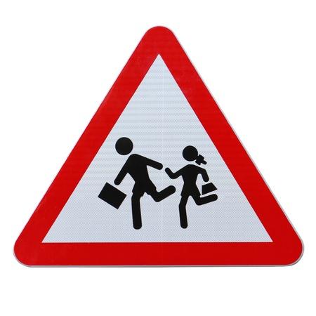Een actueel verkeersbord in Spanje op schoolkinderen oversteken Stockfoto - 14538752