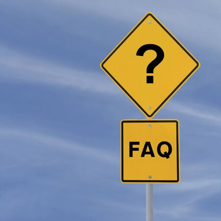 FAQ road sign against a blue sky background  photo