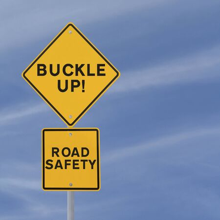 Road safety reminder against a blue sky background with copy space Stock Photo - 14965845