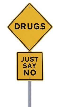 to say: Road sign indicating Just Say No To Drugs (isolated on white)  Stock Photo