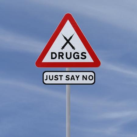 Verkeersbord aangeeft Zeg enkel Nr aan Drugs (tegen een blauwe hemel achtergrond) Stockfoto - 14989357