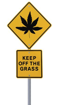 plant drug: Warning sign on the use of marijuana (isolated on white)  Stock Photo