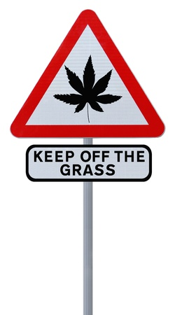 regulated: Warning sign on the use of marijuana (isolated on white)  Stock Photo