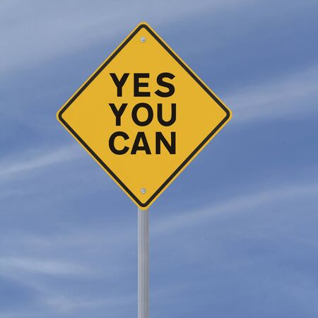 Motivational road sign (against a blue sky background)  photo