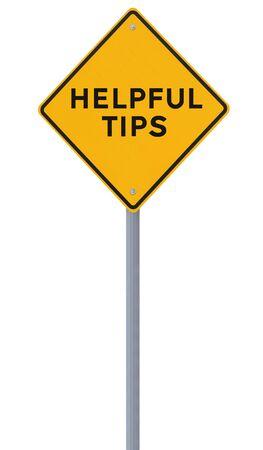Verkeersbord aangeeft Nuttige tips op wit wordt geïsoleerd Stockfoto - 15081846