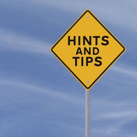 Verkeersbord aangeeft Hints en tips op wit wordt geïsoleerd Stockfoto - 15081852