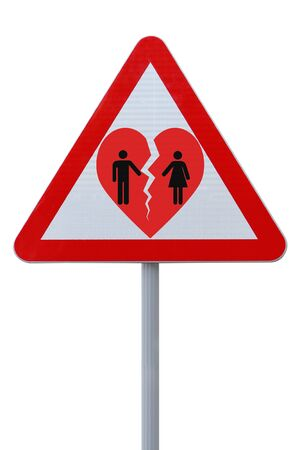 breakup: Actual road sign modified to indicate a separation or breakup down the road  Stock Photo