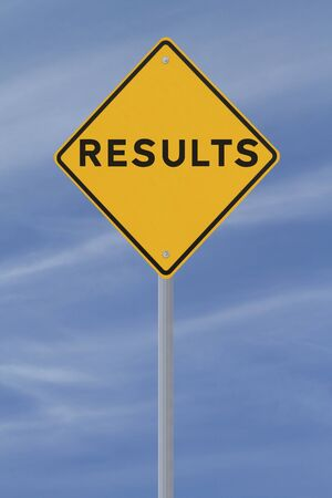 Results road sign (against a blue sky background)  Stock Photo