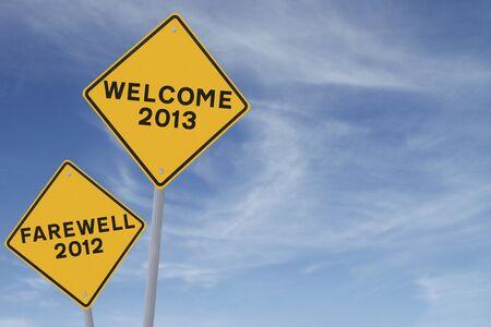 新年概念的な道路標識 (青空背景に対してコピー スペース) 写真素材