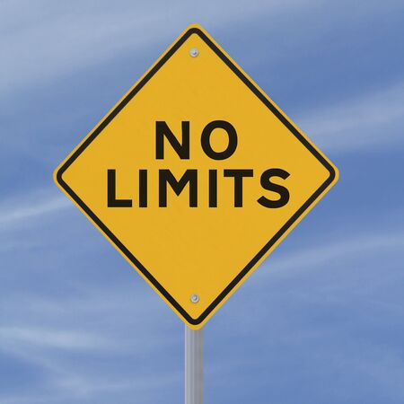 no limits: Conceptual road sign (against a blue sky background)  Stock Photo