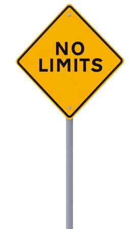 limits: Conceptual road sign (on white)