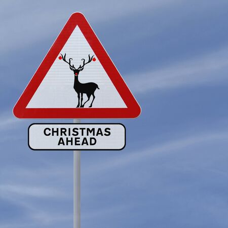 Modified road sign with a red-nosed reindeer (against a blue sky background)  photo