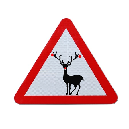 Modified road sign with a red-nosed reindeer (isolated on white with clipping path)  photo