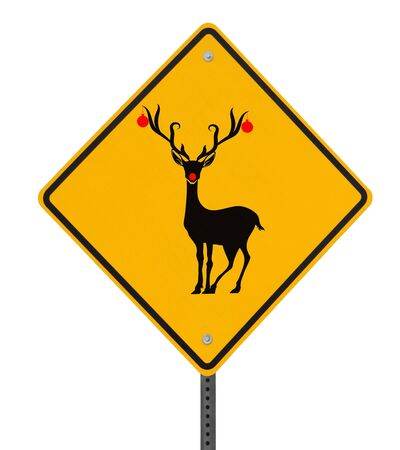 Modified road sign with a red-nosed reindeer Stock Photo - 15277271