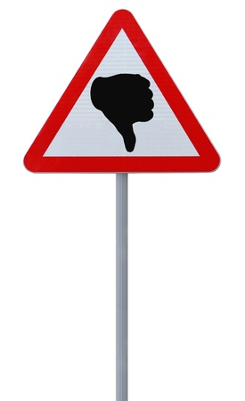 A road sign with a thumbs down sign (isolated on white)  Stock Photo - 15277272