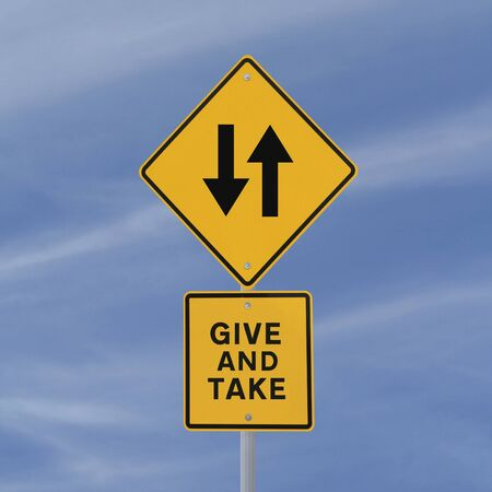traffic signs: Conceptual road sign (against a blue sky background)  Stock Photo