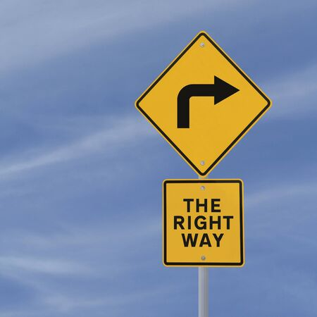 turn sign: Conceptual road sign (against a blue sky background with copy space)