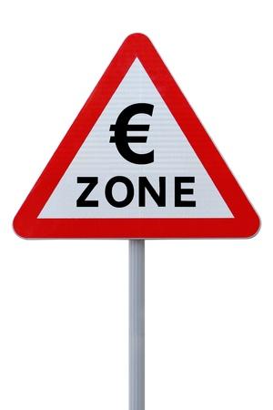 zone euro: Panneau de signalisation routi�re eurozone Banque d'images