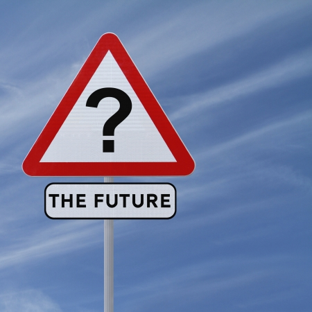 uncertainty: Road sign implying uncertainty of the future (against a blue sky background)  Stock Photo