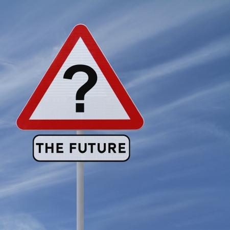 Verkeersbord impliceert onzekerheid van de toekomst (tegen een blauwe hemel achtergrond) Stockfoto - 15513937