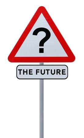 道路標識 (白で隔離される) 将来の不確実性を示唆 写真素材