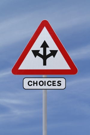 forked road: Conceptual road sign on choices or making decisions  against a blue sky background   Stock Photo