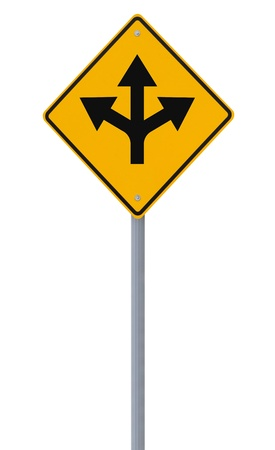 Conceptual road sign on choices or making decisions  on white   Stock Photo