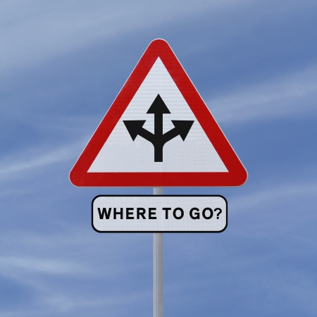 unsure: Conceptual road sign on choices or making decisions  against a blue sky background   Stock Photo