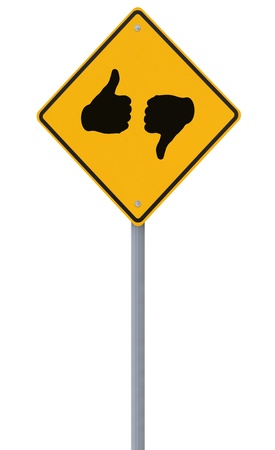 An isolated road sign with a thumbs up and thumbs down symbol  photo