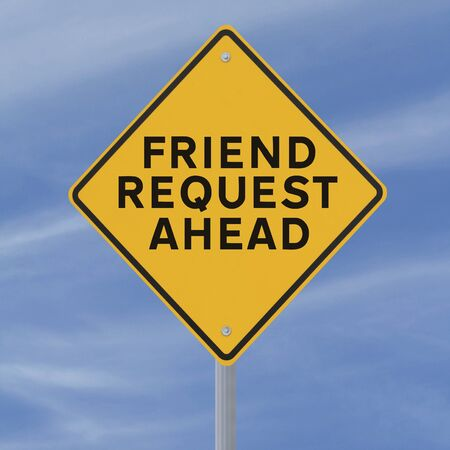 requesting: A conceptual road sign on social networking (against a blue sky background)