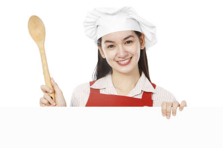 ladle: A young cook above a blank space