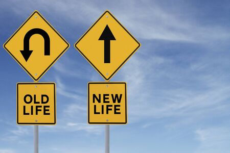 u turn sign: Conceptual road signs about change or choices  Stock Photo