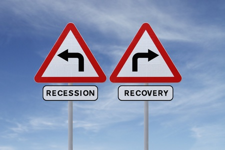 road to recovery: Conceptual road signs on economic recovery and recession  Stock Photo