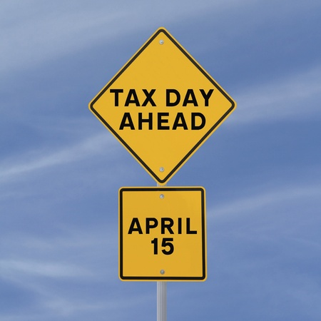 Actual road sign modified to warn of tax day deadline ahead