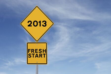 frisse start: Verkeersbord wijst op een nieuwe start in 2013