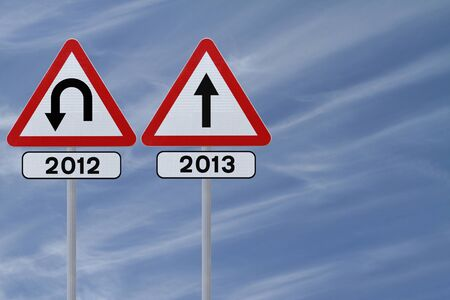 Modified road signs on the old and the new year  photo
