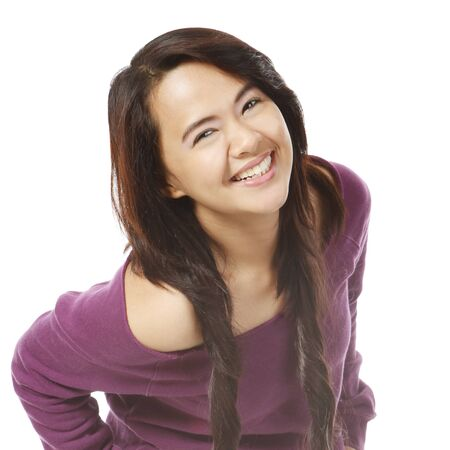 big smile: A young attractive woman with a big smile