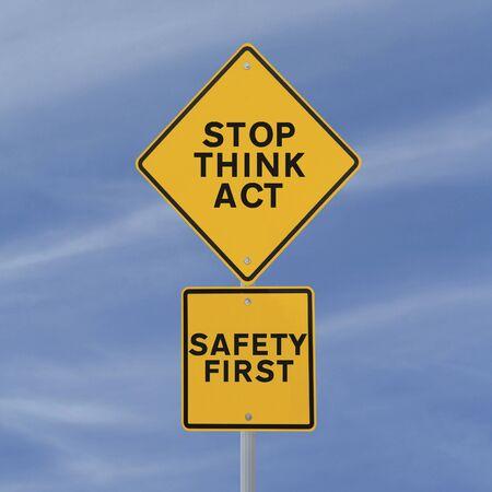青い空を背景に安全道路標識 写真素材