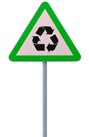 An actual road sign modified into an environmental reminder (isolated on white)  photo