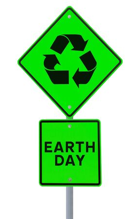 A road sign promoting environmental awareness (on white)  Stock Photo - 17342798