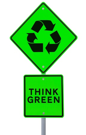 A road sign promoting environmental awareness (on white)  photo