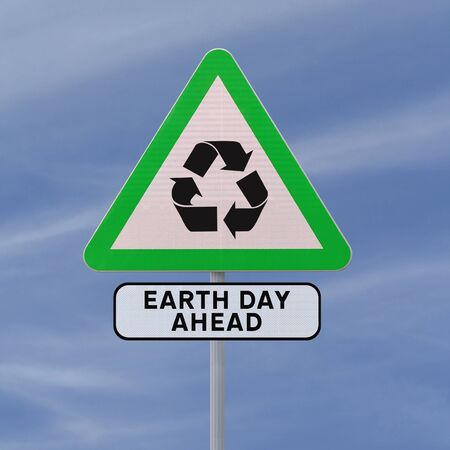 A road sign promoting environmental awareness (against a blue sky background)  photo