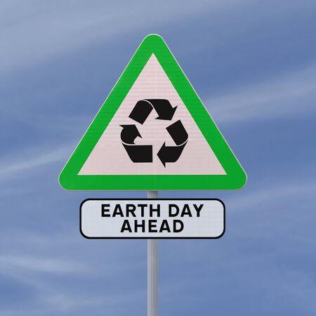 logo recyclage: Un panneau de signalisation routière promouvoir la conscience environnementale (contre un fond de ciel bleu)