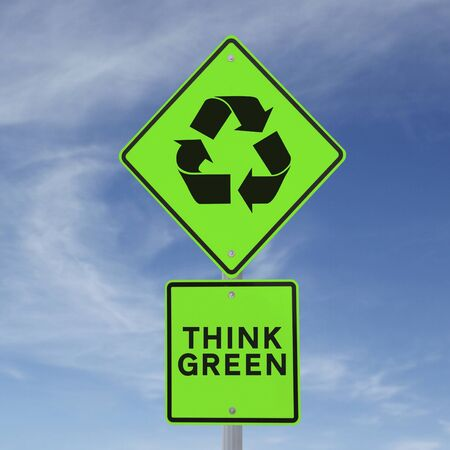 A road sign promoting environmental awareness (against a blue sky background)  Stock Photo - 17342801