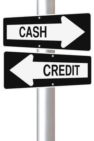 Conceptual one way road signs on business or finance implying the use of cash or credit  Stock Photo - 17921790