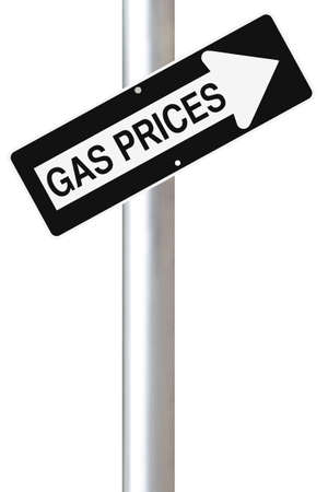 high price of oil: A modified one way sign on the increase of fuel prices   Stock Photo