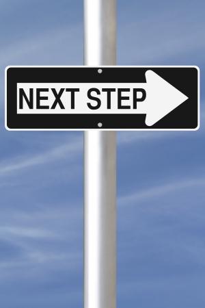 следующий: Концептуальная улица с односторонним движением знак на следующих шагов Фото со стока