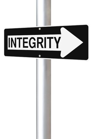 ethics and morals: A modified one way street sign on Integrity  Stock Photo